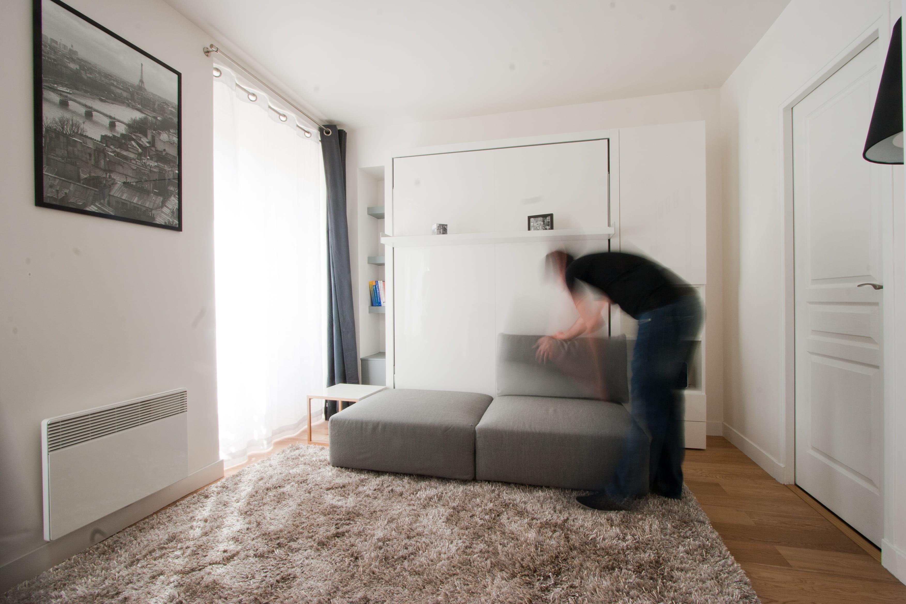 ranger le lit dans le mur