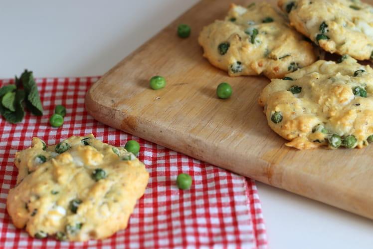 Veggie cookies aux petits pois, fêta et menthe