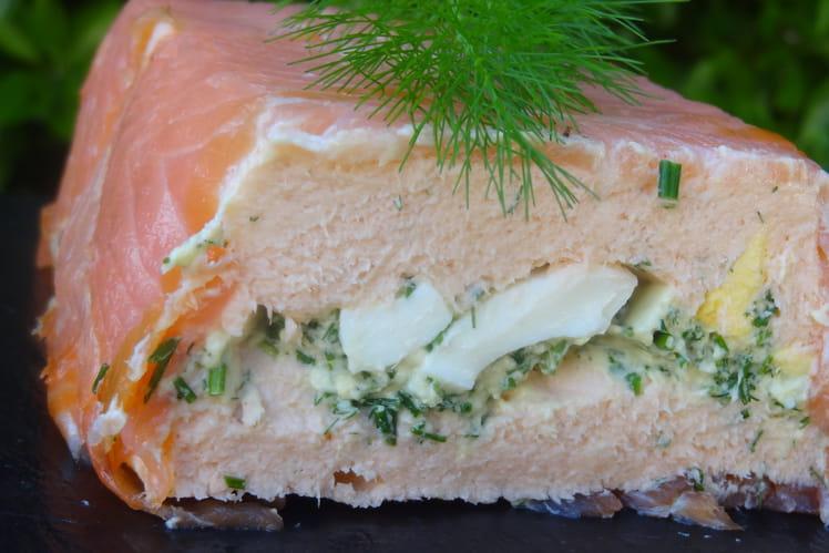 Terrine de saumon et œufs durs-herbes aromatiques