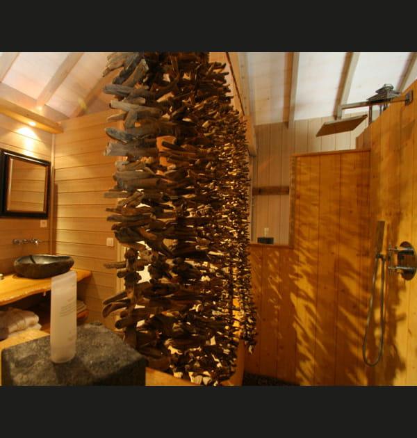Rideau de douche en bois flotté