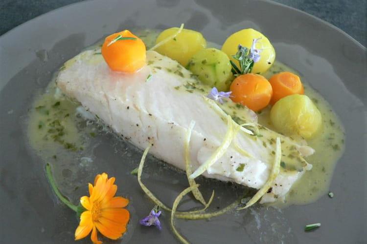 Filet de saint pierre et ses billes de légumes au beurre citronné.