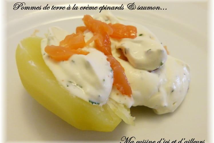Pomme de terre à la crème épinards et saumon