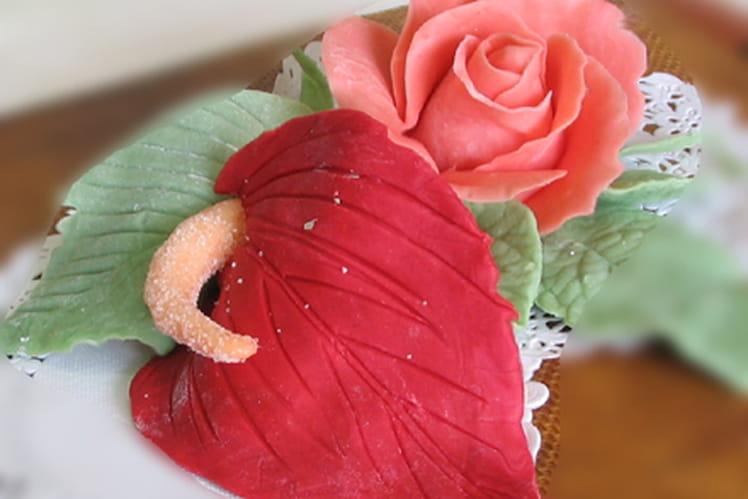 Anthurium et arum en pâte d'amande