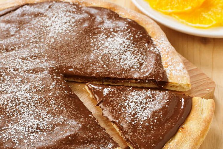 Pizza à la pâte à tartiner chocolat / noisette sur sa pâte à pizza au Levain Croustipate