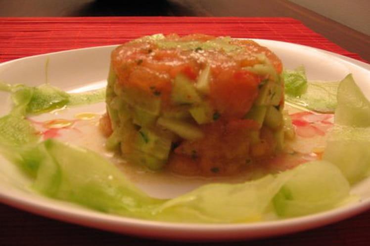 Tartare de tomate-concombre au cumin