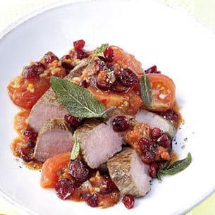 fondue de tomates aux us cranberries avec filet d'agneau