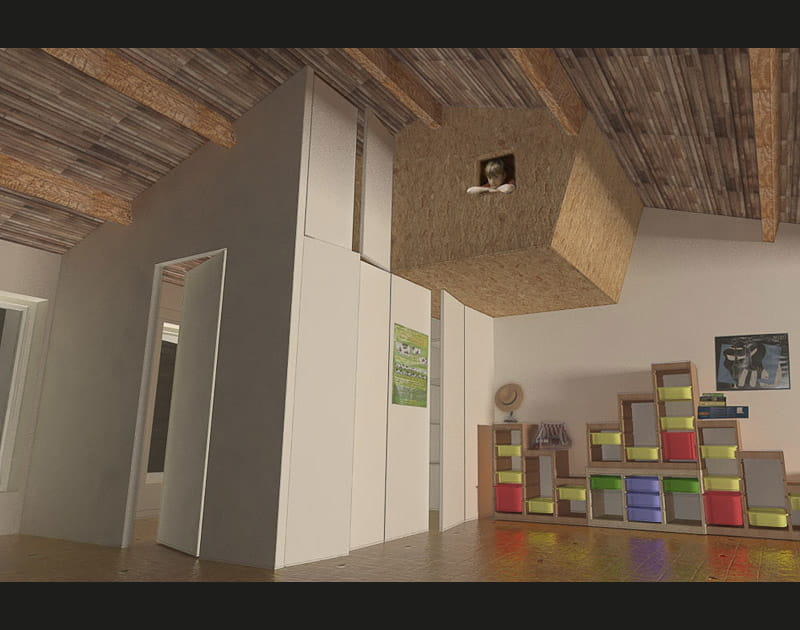 Une cabane dans une chambre d'enfant