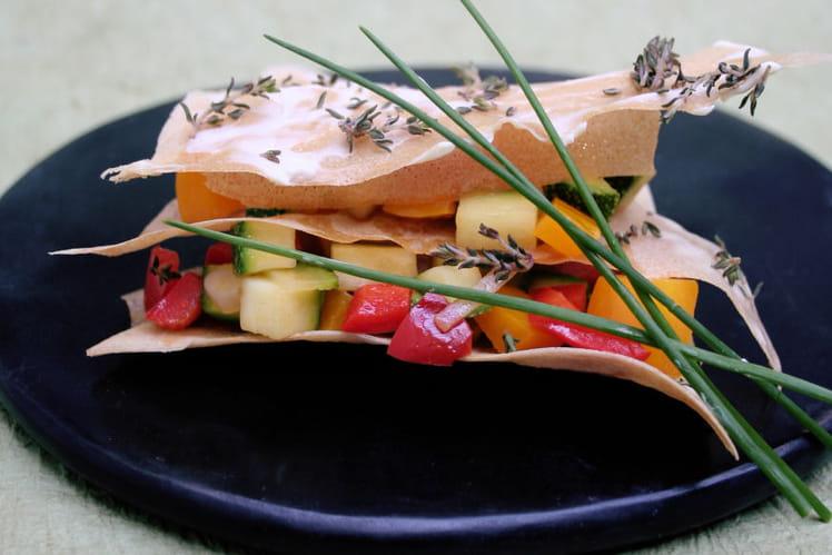Millefeuille de légumes à La vache qui rit® et herbes de Provence