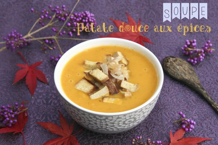 Soupe de patate douce à l'huile de coco, gingembre et cumin