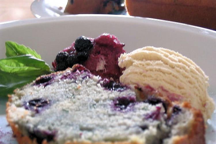Cake myrtilles-basilic