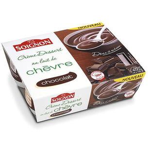 crème dessert chocolat au lait de chèvre de soignon