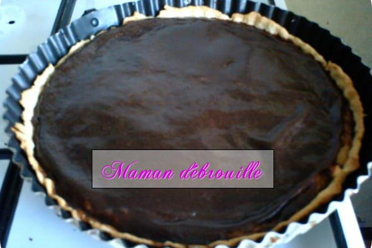 Tarte au chocolat sur compotée de banane citronnée