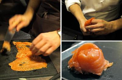 pour former les fleurs de saumon, on enroule les tranches autour de deux doigts