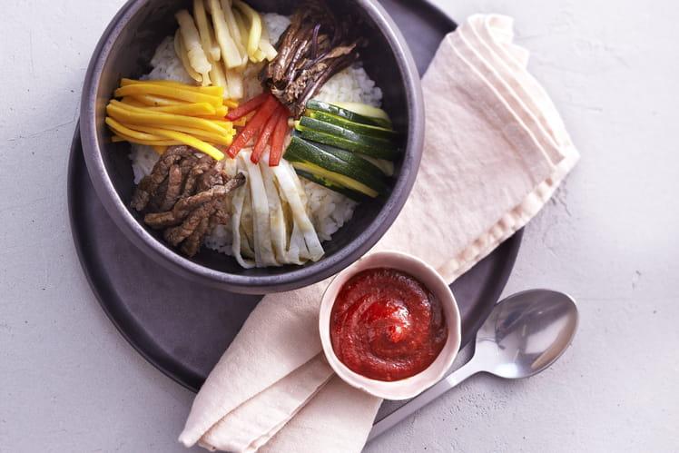 Bibimbap - Riz aux légumes et à la viande de boeuf