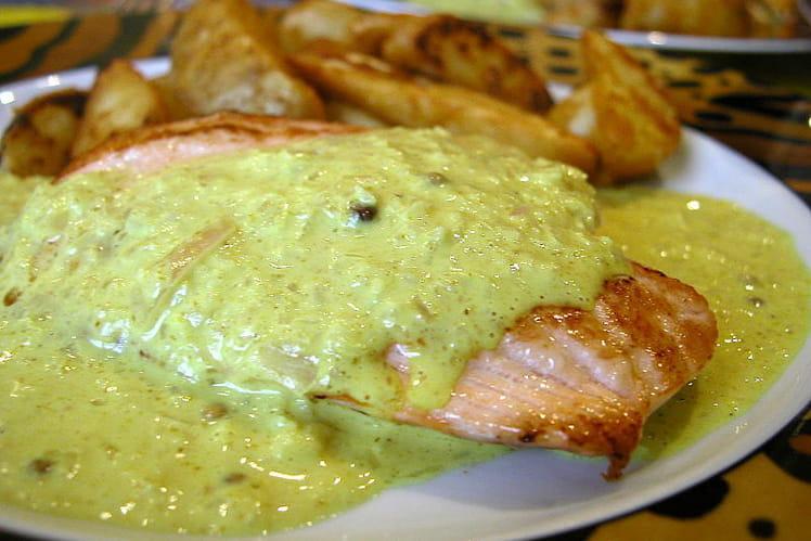 Pavé de saumon au curry et graines de coriandre