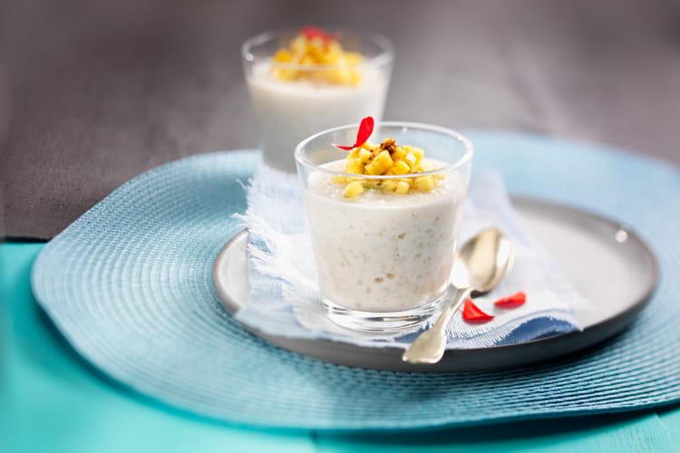 Riz au lait au St Môret®, tartare de mangue, citron vert et gingembre