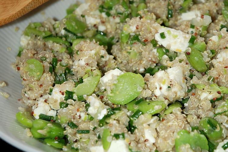Salade de fèves, feta et quinoa