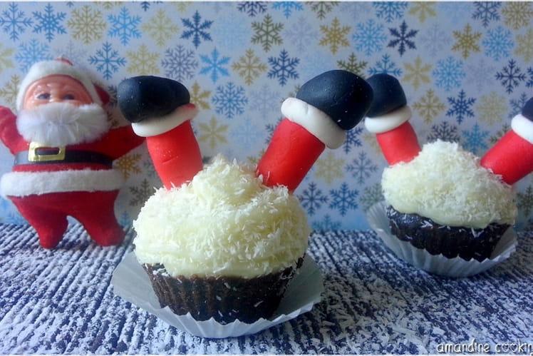 Cupcake Père Noël chocolat coco