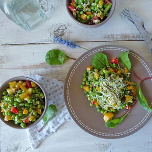 salade aux petits pois et haricots verts