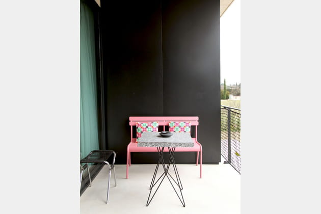 Balcon noir et rose