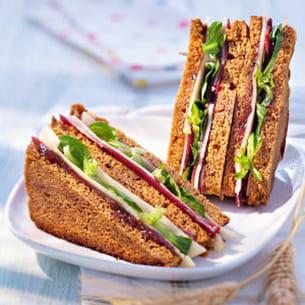 club sandwich pain d'épices et magret fumé