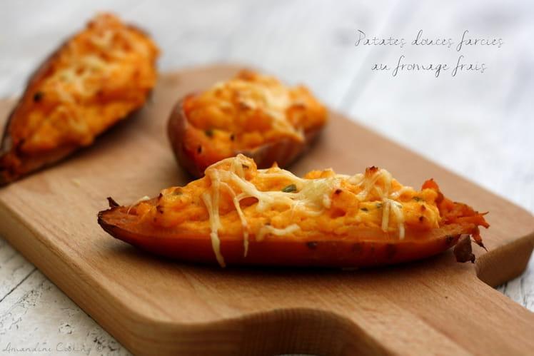 Patates douces farcies au fromage frais, échalote et ciboulette