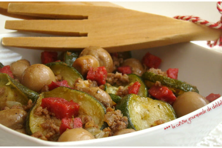 Poêlée de légumes au boeuf et chorizo