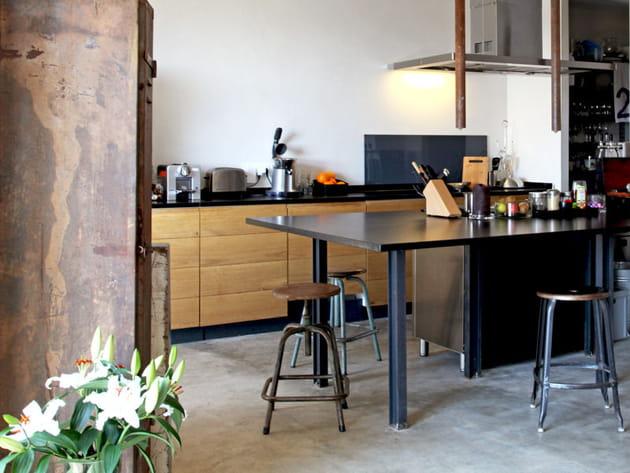 Cuisine en bois industrielle