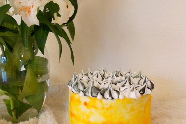 Layer cake meringué au citron pavot