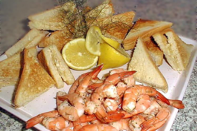 Crevettes marinées et sandwichs au citron