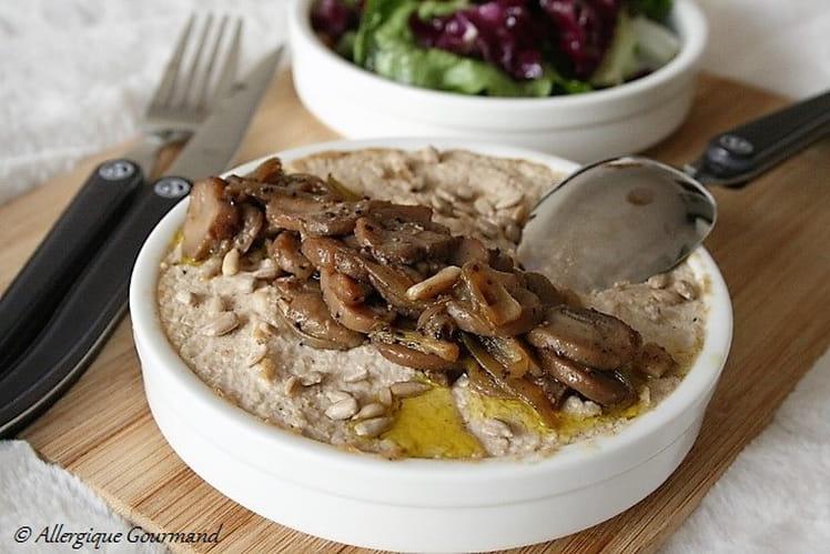 Porridge crémeux aux flocons de quinoa et champignon {sans gluten, sans oeufs}