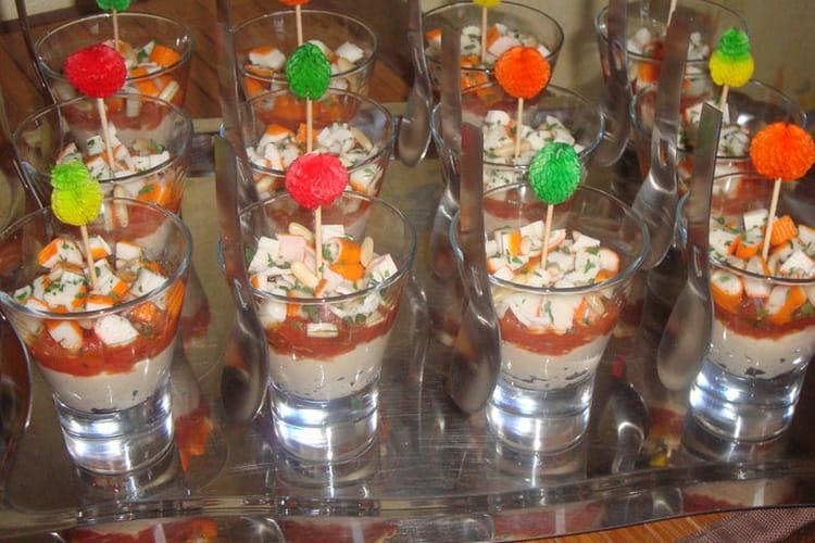 Verrines de thon, tomates et surimi
