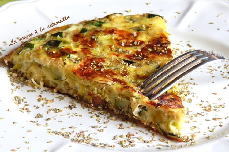 Tortilla de courgettes et poireaux à l'origan