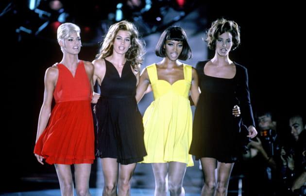 Linda Evangelista, Cindy Crawford, Naomi Campbell et Christy Turlington le 15juin 1991