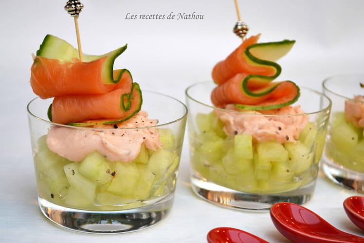 Verrines de concombre au citron vert et crème de saumon fumé