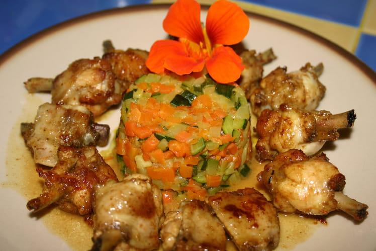 Pilons de poulet marinés au curry, petits légumes