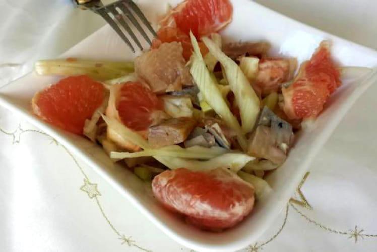 Salade fenouil, pamplemousse et maquereau