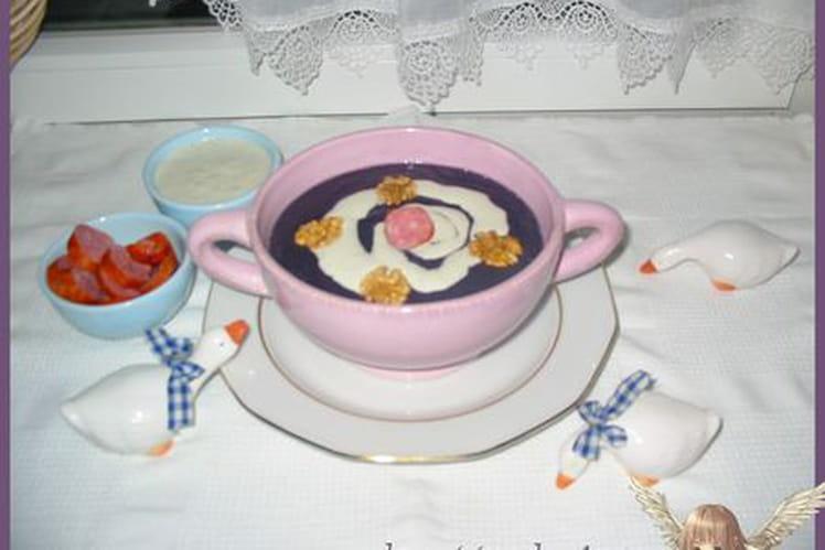 Velouté violet et sa petite crème gourmande
