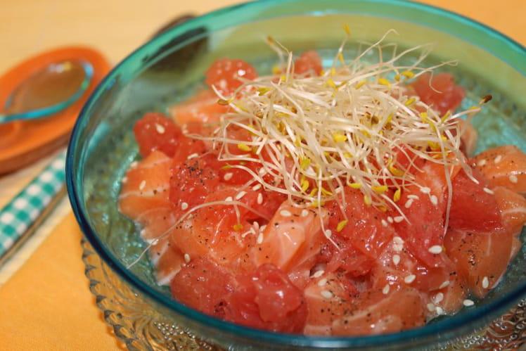 Tartare saumon, pamplemousse, citron