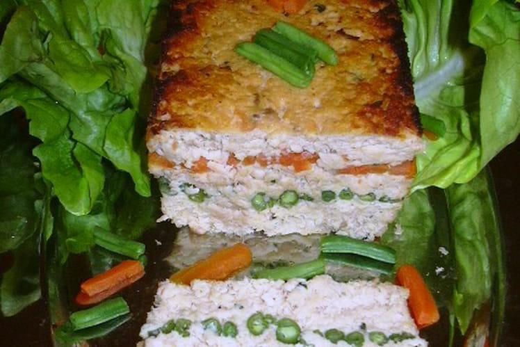 Terrine de saumon, carottes et haricots verts