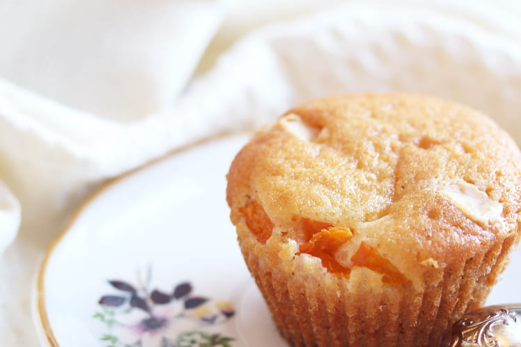Muffins abricots, chocolat blanc et fleur d'oranger