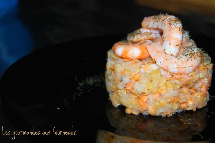 Navet râpé aux lentilles corail et ses crevettes