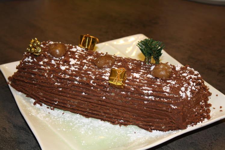 Bûche au chocolat et aux marrons