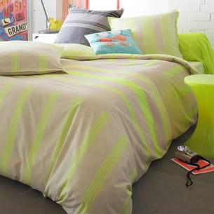linge de lit à rayures jaune fluo 3 suisses