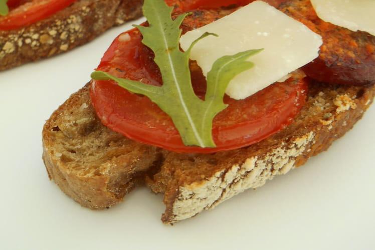 Bruschetta chorizo et parmesan
