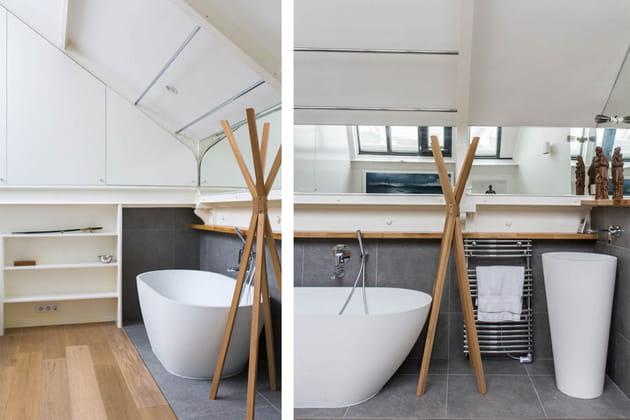Une chambre d'amis avec salle de bains