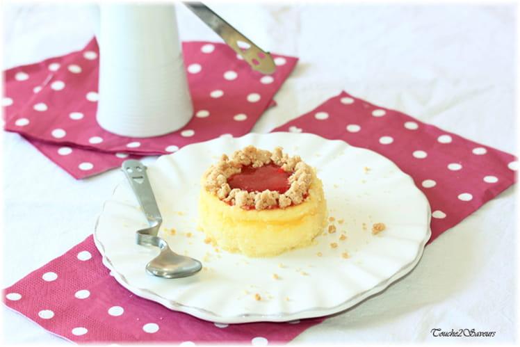 Cheesecake crumble et coulis de fraises (sans pâte)