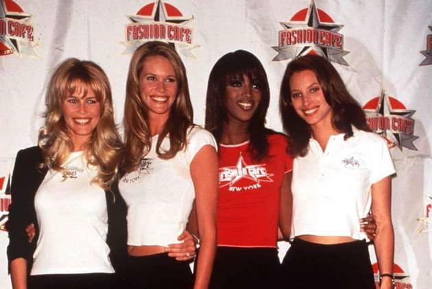 Claudia Schiffer, Elle McPherson, Naomi Campbel et Chisty Turlington le 15juin 1995