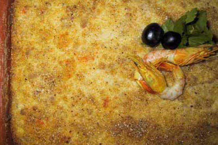 Gratin de morue aux crevettes