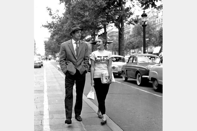 """Jean-Paul Belmondo et Jean Seberg, """"A bout de souffle"""" 1959"""